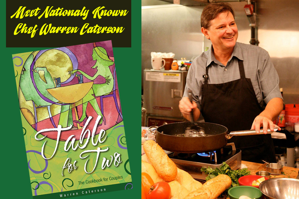 Chef Warren Caterson promo showing book cover and photo of chef Warren. Chef Warren Caterson will be at the Port St. Lucie Home Show